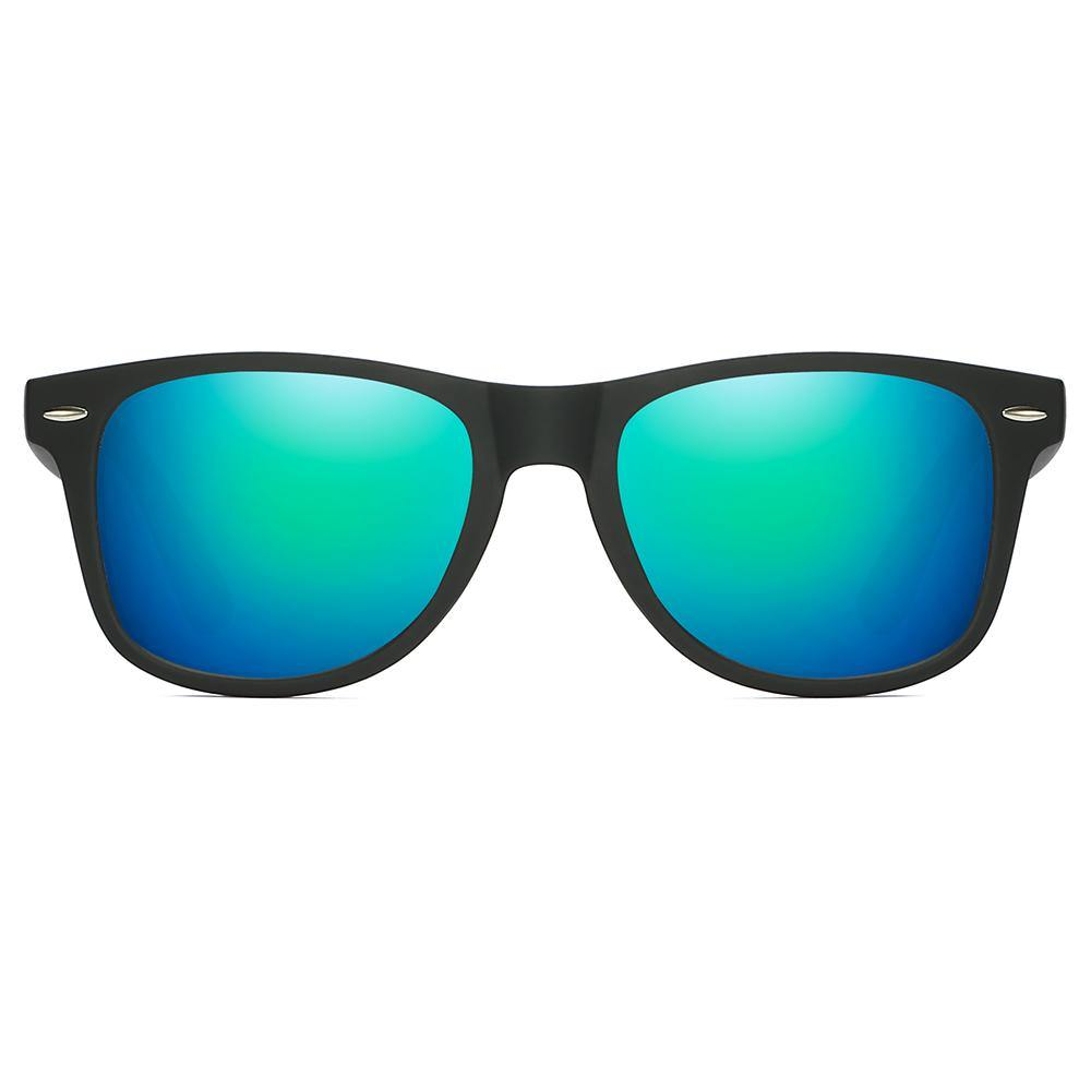 rectangular sunglasses with green lens and black frames