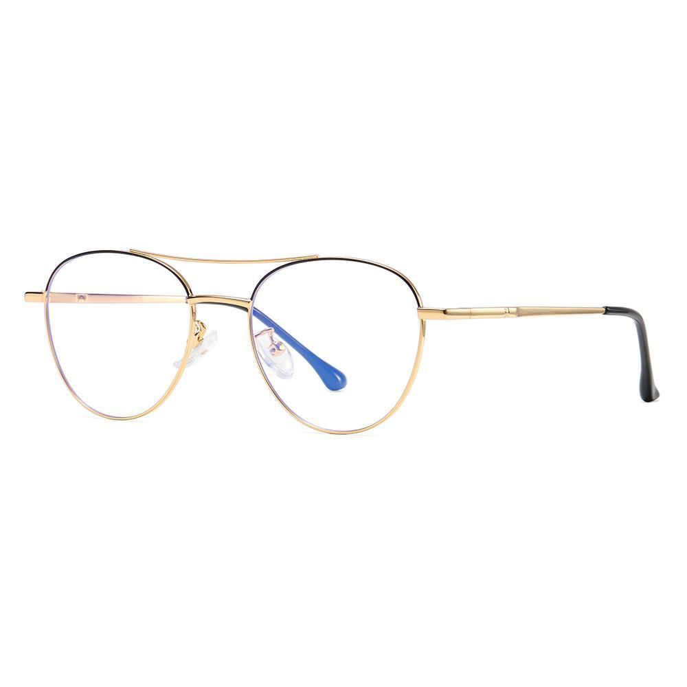 side view of spectacles, aviator style double bridge, black gold combination frame color, gold temple arms