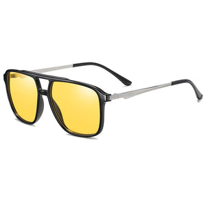 night driving sunglasses with black frame silver temple arms