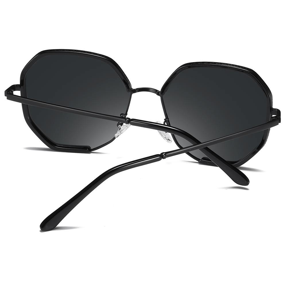 back view of octagon sunglasses, black temple arms