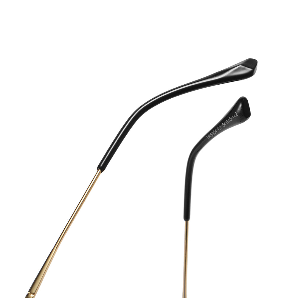 black ending tips of gold temple eyeglasses