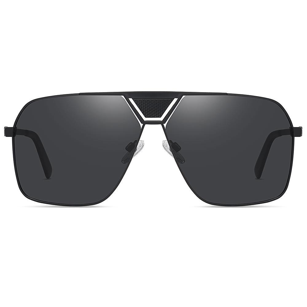 black tinted lens color, oversized square frame shape, flat top style