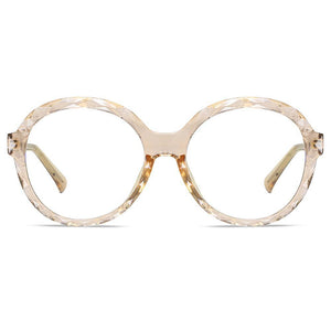 oversized champagne circle frames, almond white