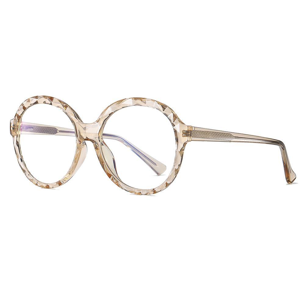prescription eyeglasses in circle frames, almond white rim color and temples