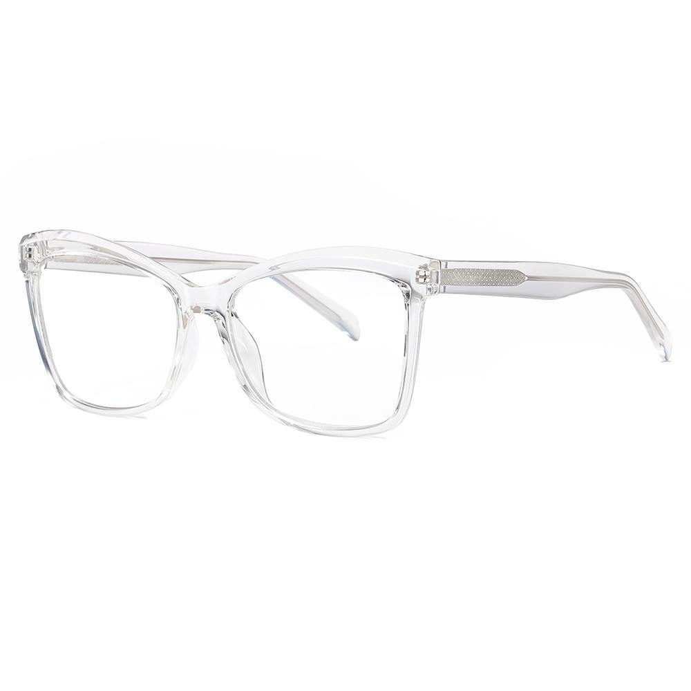 oversized square eyeglasses with clear transparent frames