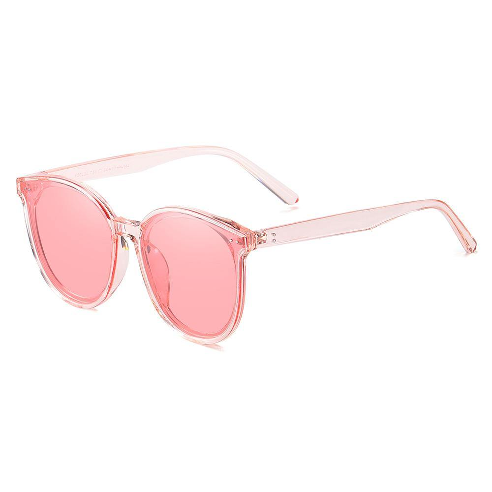 Pink tinted lenses in phanto round frame shape, light pink frames