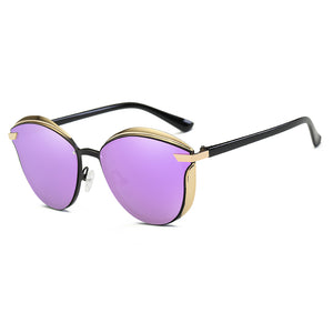 phanto round shape sunshades, round frame with angular edge, purple tinted lens, black temple legs