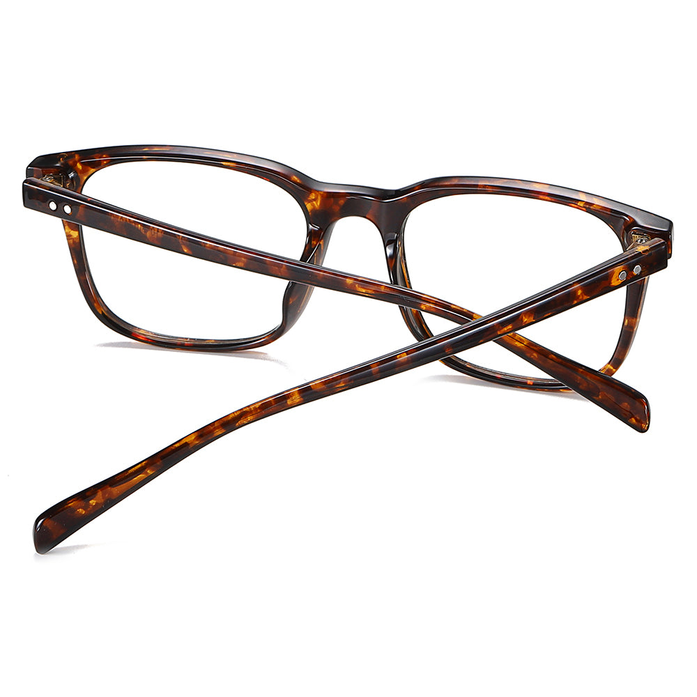 tortoise frame eyeglasses, rectangle shape oen piece nose pads