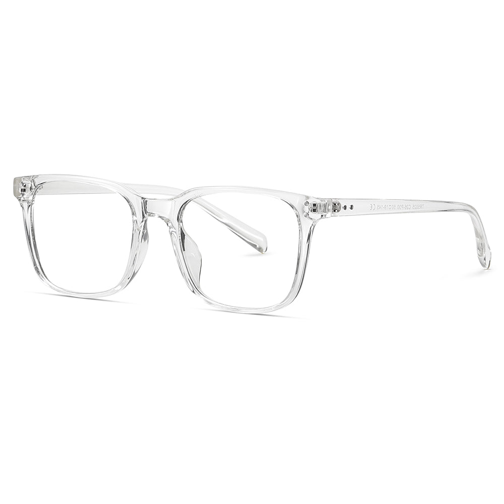 clear frames rectangle eyeglasses with transition lens
