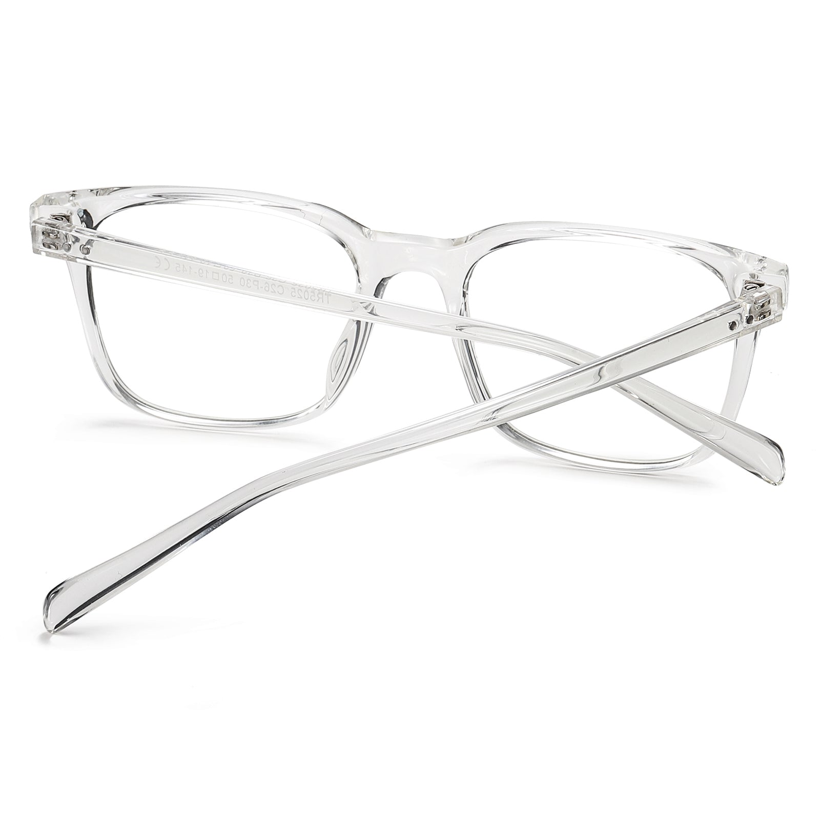 photochromic eyeglasses, clear frames, transparent temple arms