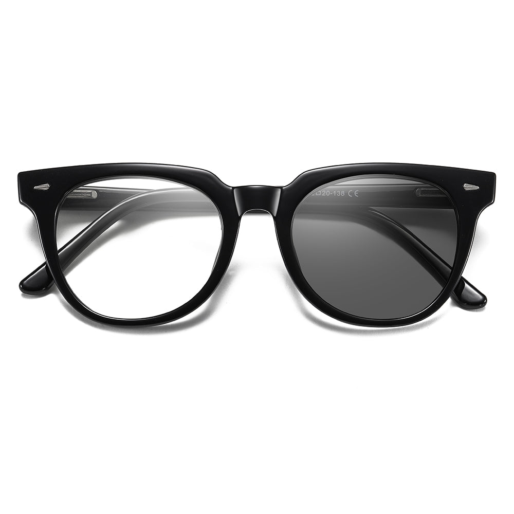 black round shape and photochromic lenses