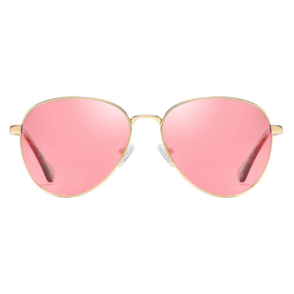 Pink aviator sunglasses with thin gold trim