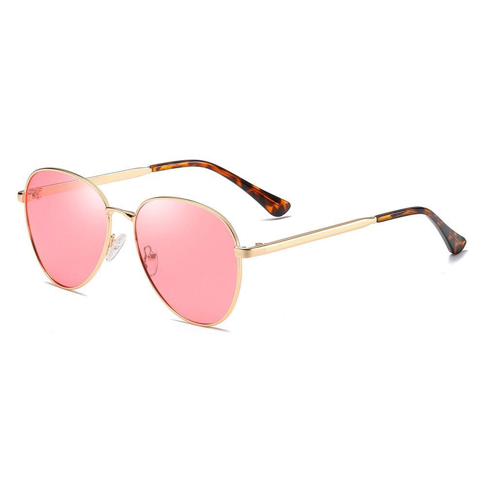 pink aviator sunglasses with gold temple arms and tortoise ending tips