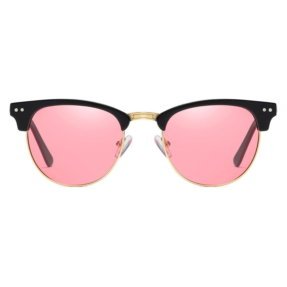 Pink clubmaster sunglasses with black brownline, pink lens trimmed with gold, 2 dot rivets ,god nose bridge