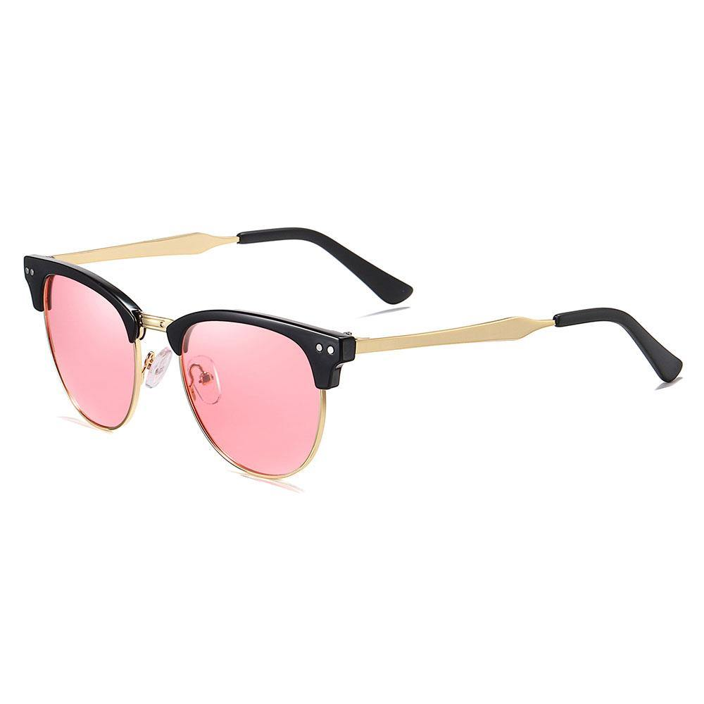 Pink clubmaster sunglasses with gold temple arms and black ending tips