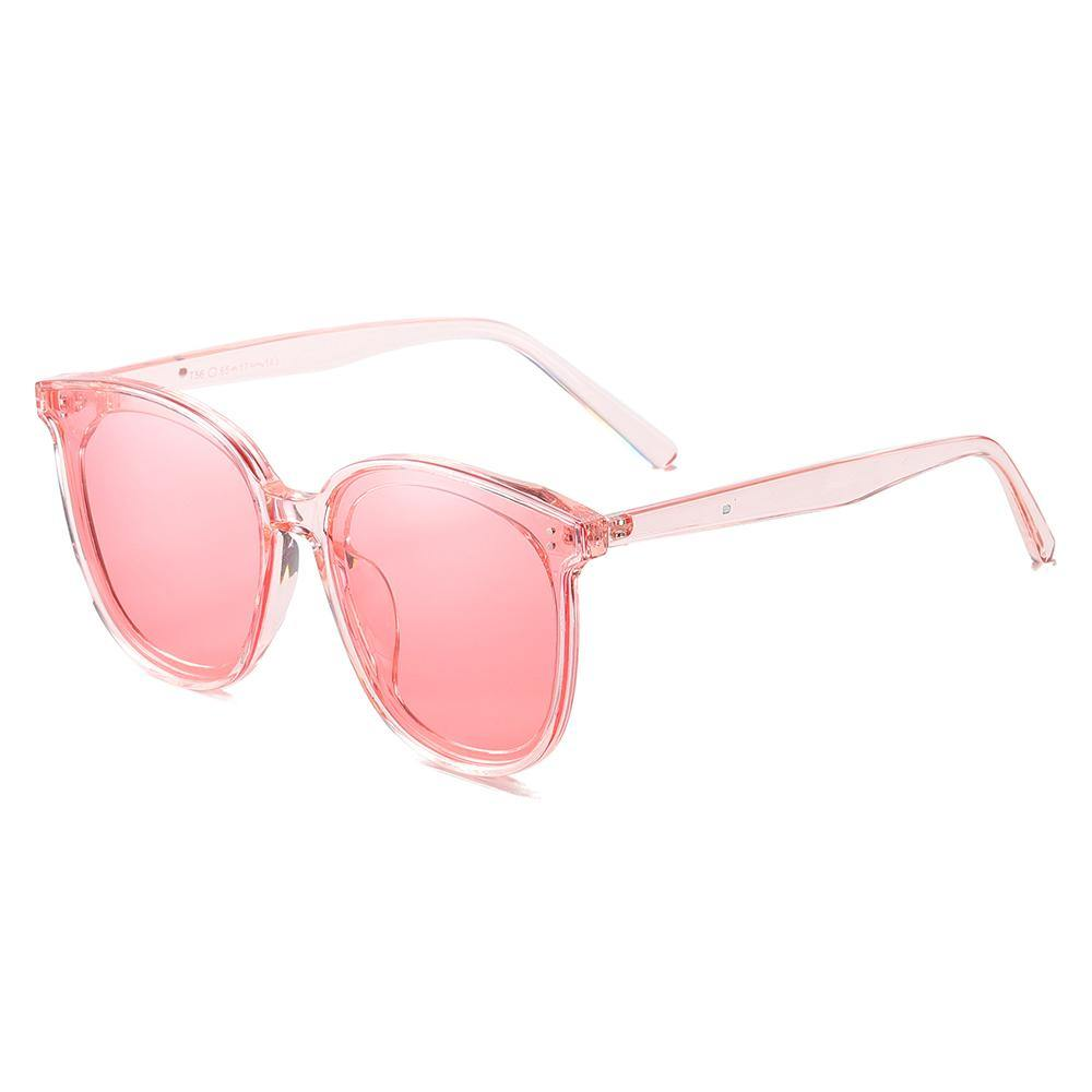 Lenses and temples in light pink tint, square round shape frames