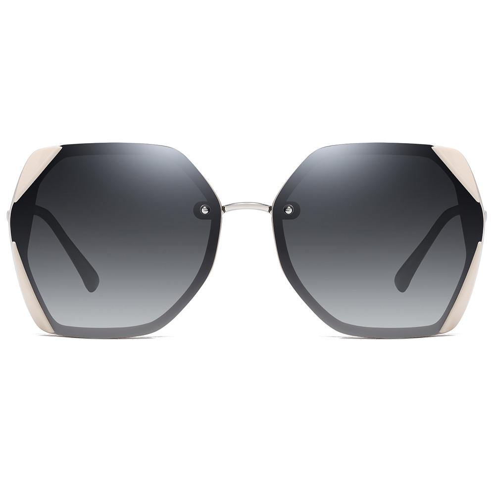 geometric sunglasses grey gradient lens with pink angular edges