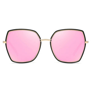 square sunglasses with pink lenses shaped in gold inserted black frame