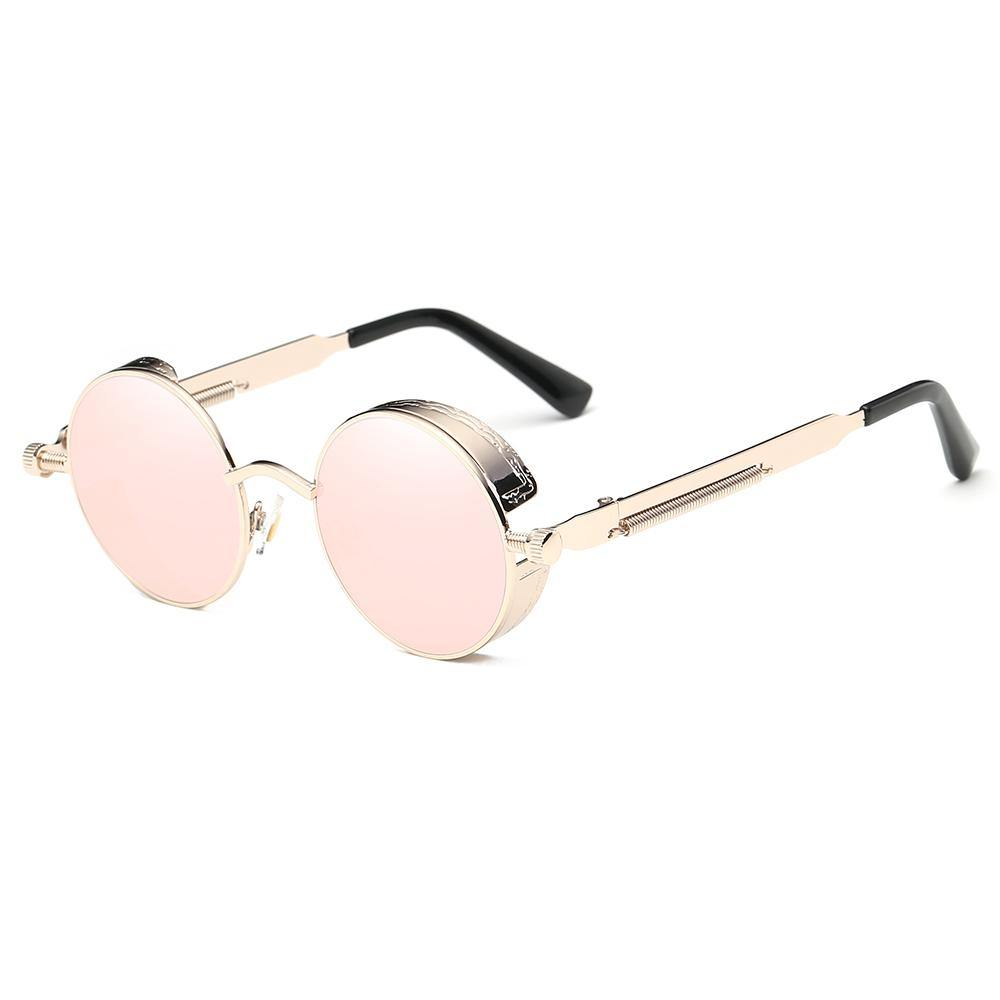 Pink Hippie Style Round Sunglasses with Gold Frames and Temple Arms