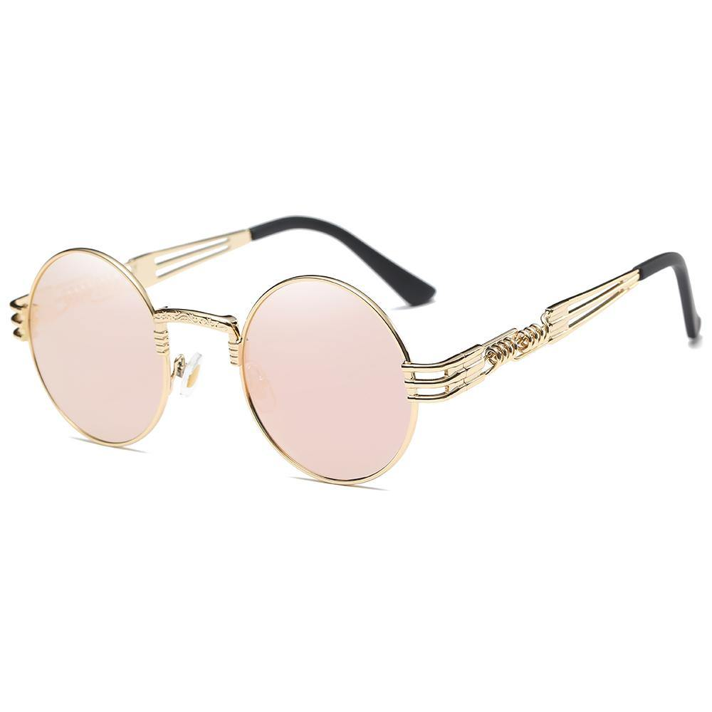 pink lens rimmed with gold, equisite steampunk spring legs design