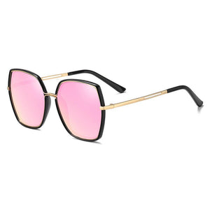 pink shades in square shape with gold temple arms