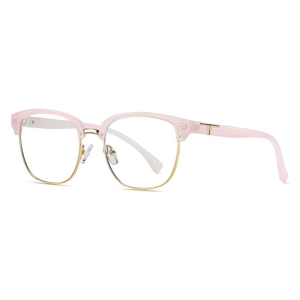 Pink square sunglasses, lens with gold trimmed, pink temple arms