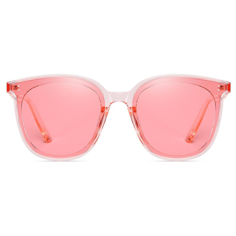 Pink tinted square sunglasses with cream white frames