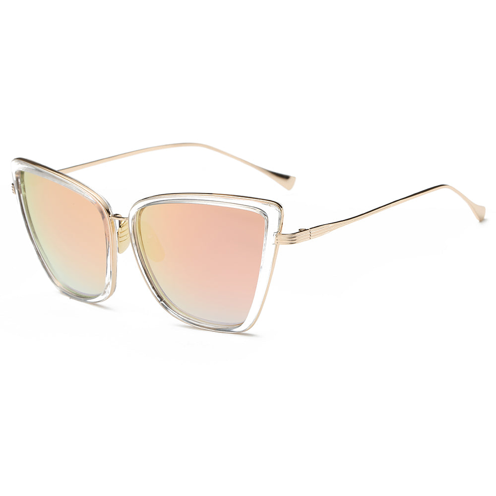 pink sunglases lens with clear frames and gold temple arms