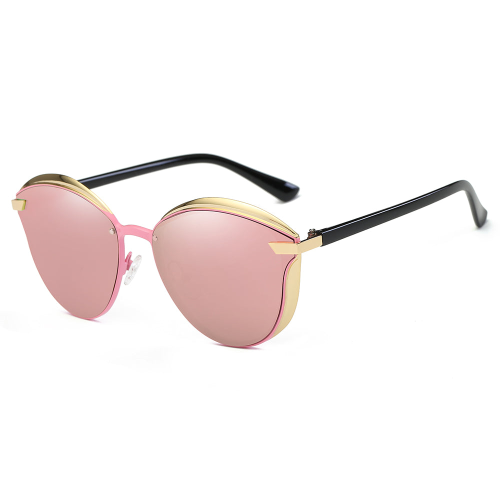 pink lens in phanto round shape, gold frames and endpieces, black temple arms