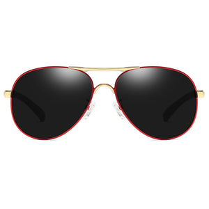aviator polarized sunglasses with red rimmed and gold double bridge