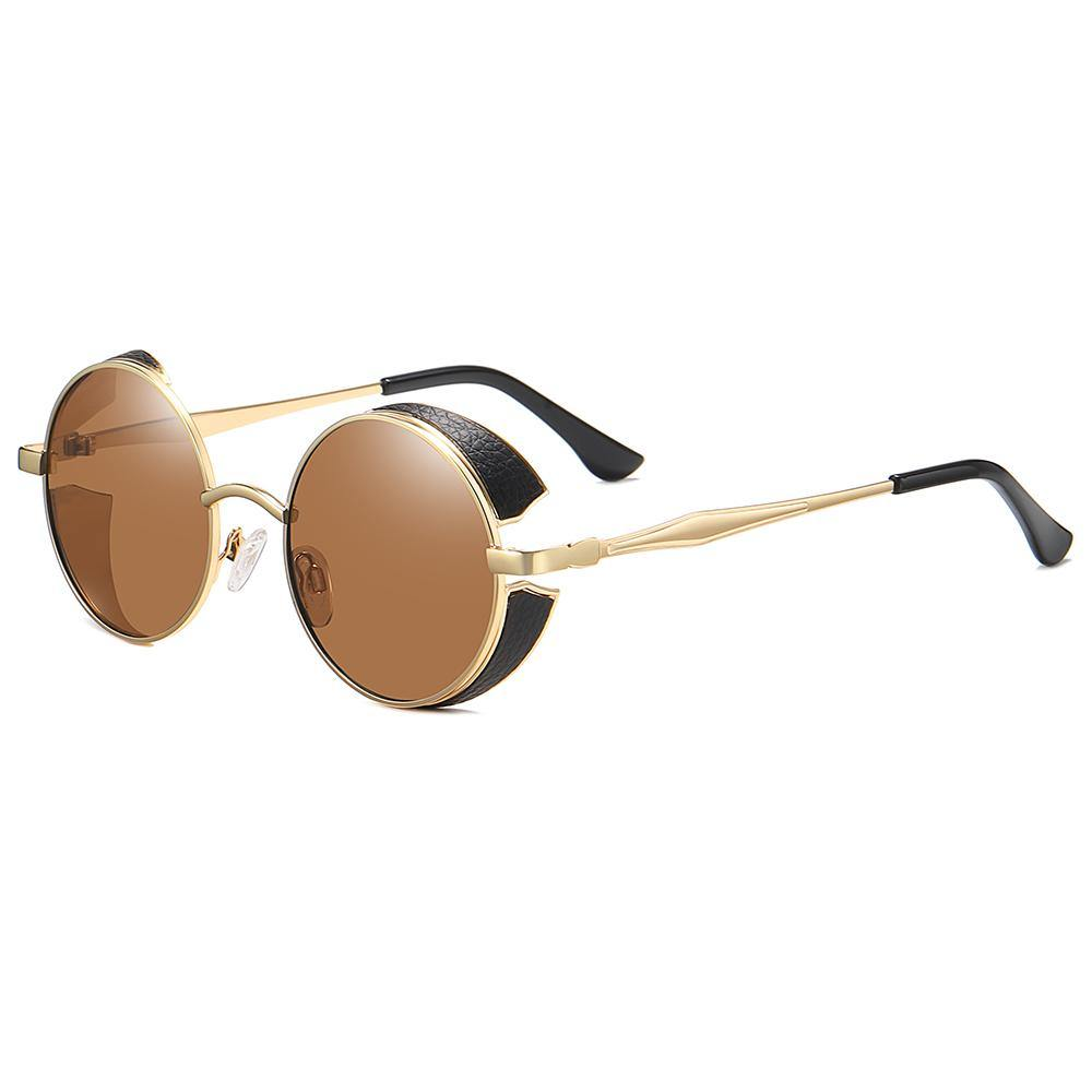 side view of john lennon round sun shades with gold rimmed and temple arms