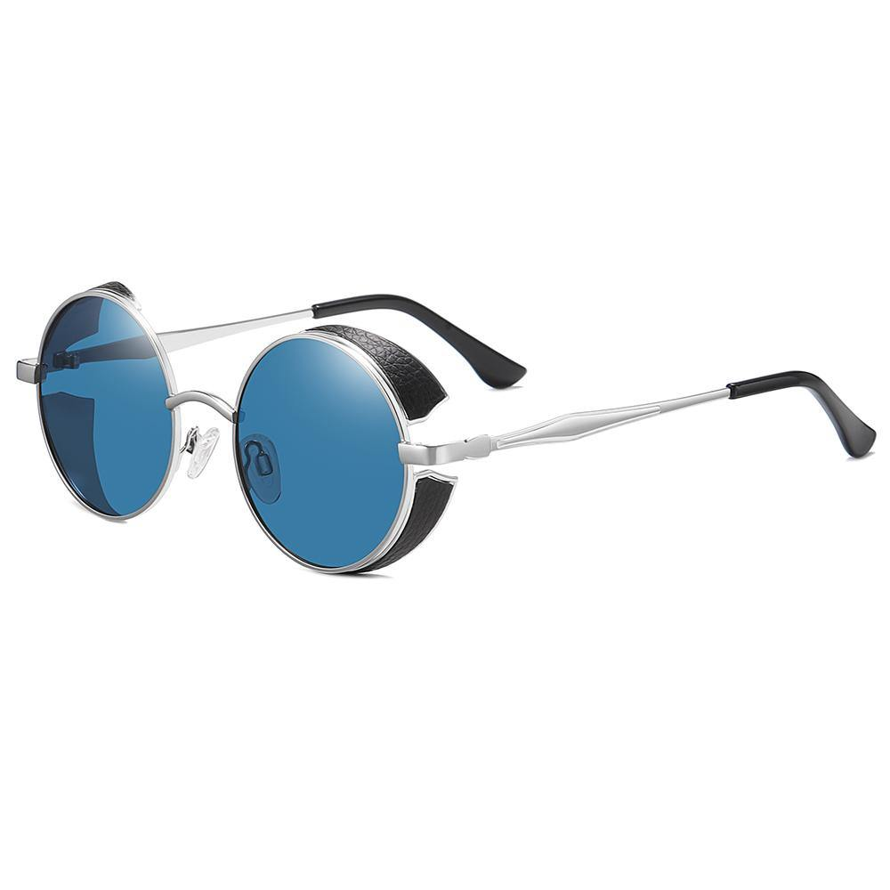 side view of John lennon round sun shades with blue tint lens and silver temple arms