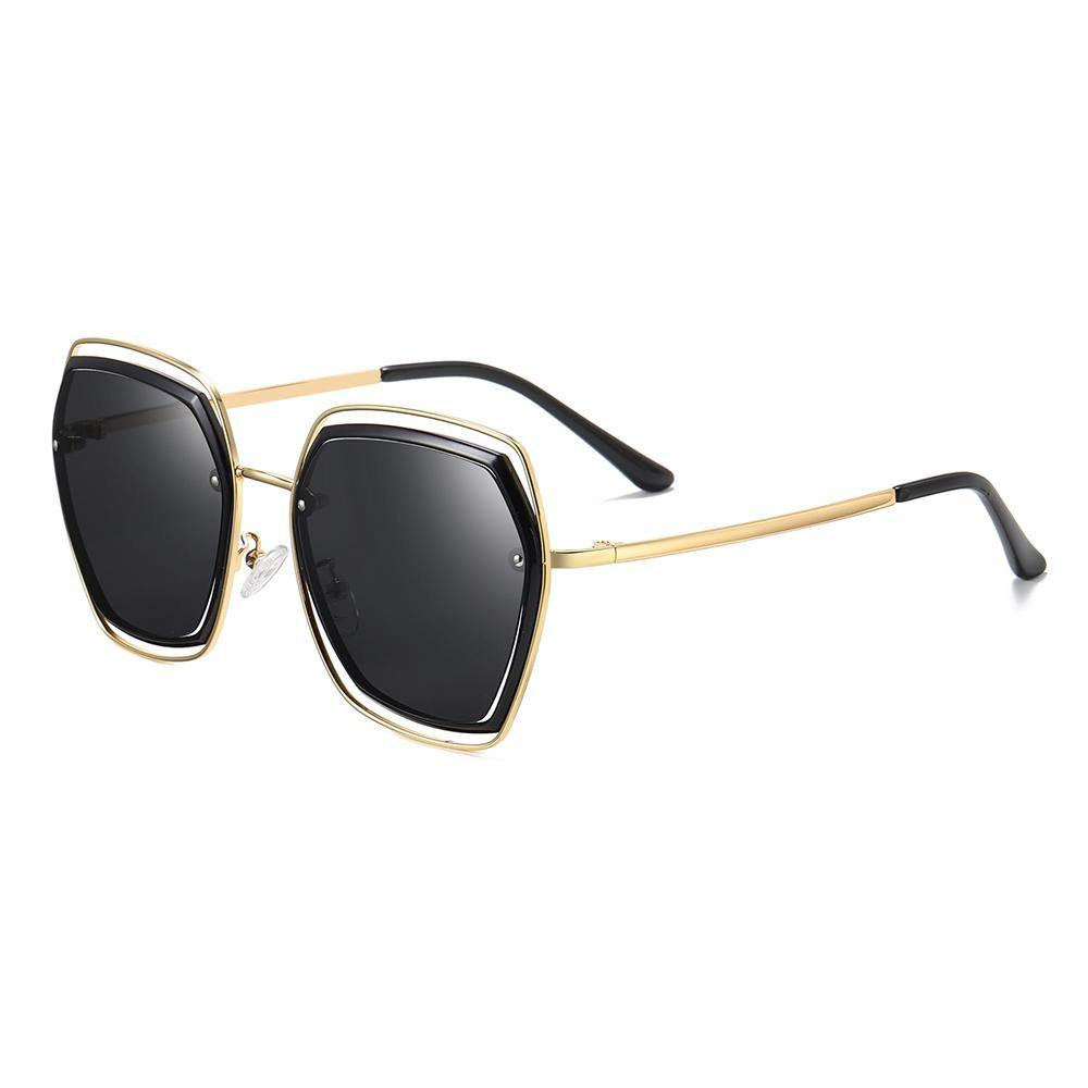 45 angle side view of polarized lenses square shape and gold temple arms