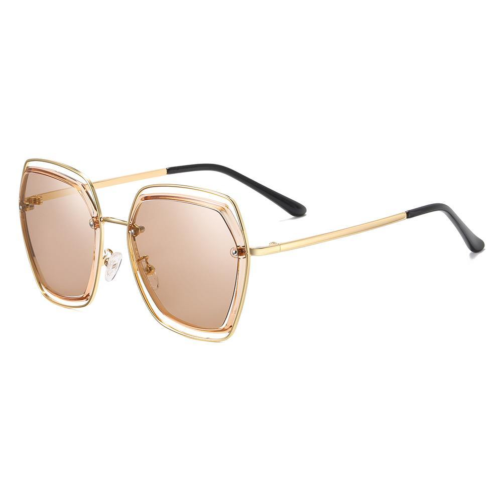 light brown tinted lenses in big square shape sunglasses