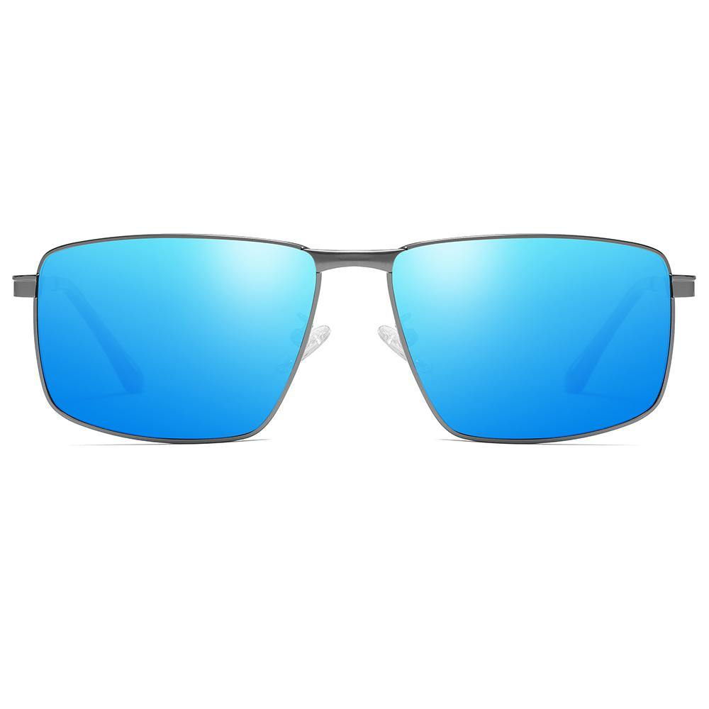 rectangular sunglasses with blue tiint lens grey frames