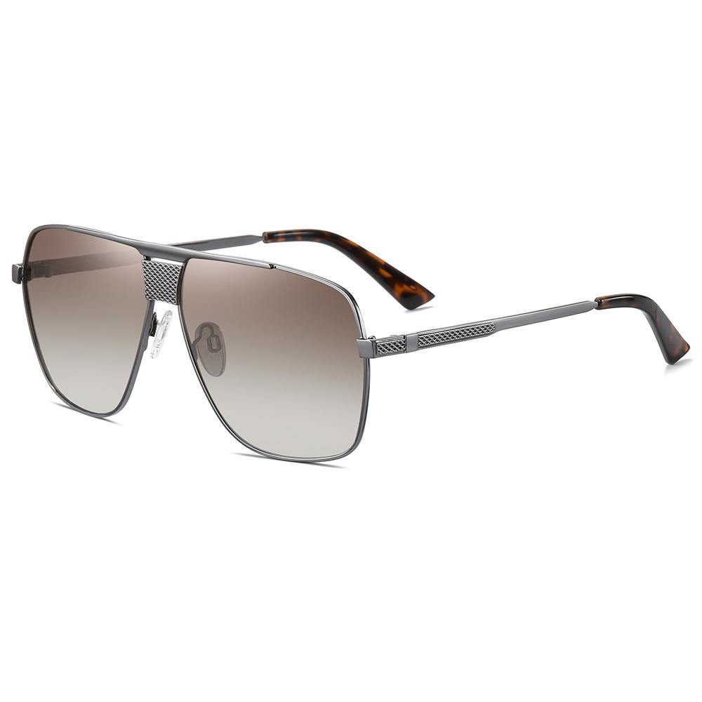 side view of square sunglasses, dark grey temple arms and tortoise ending tips