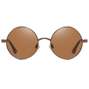 amber tint polarized sunglasses in small round shape, hippie rocking john lennon style