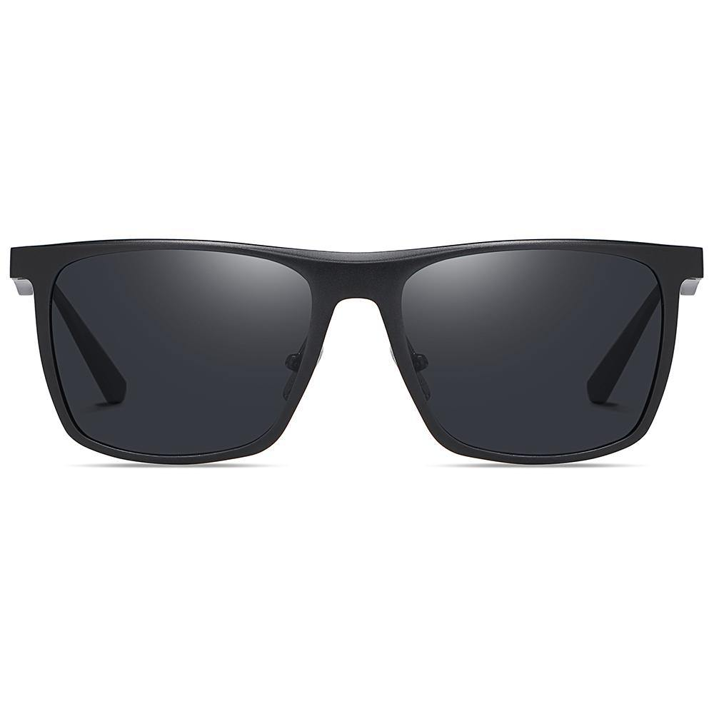 polarized sunglasses in wayfarer style rectangular shape black lens