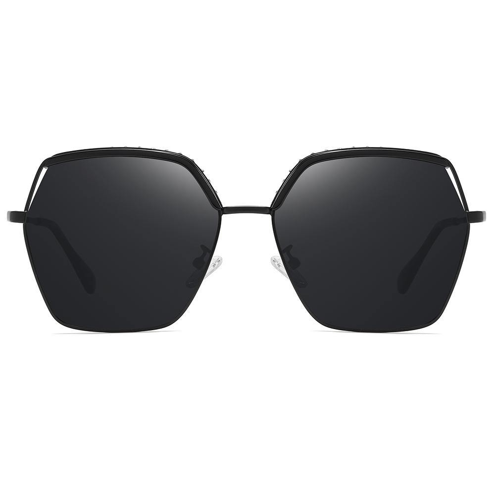 full black polarized sunglasses in octagon shape big size