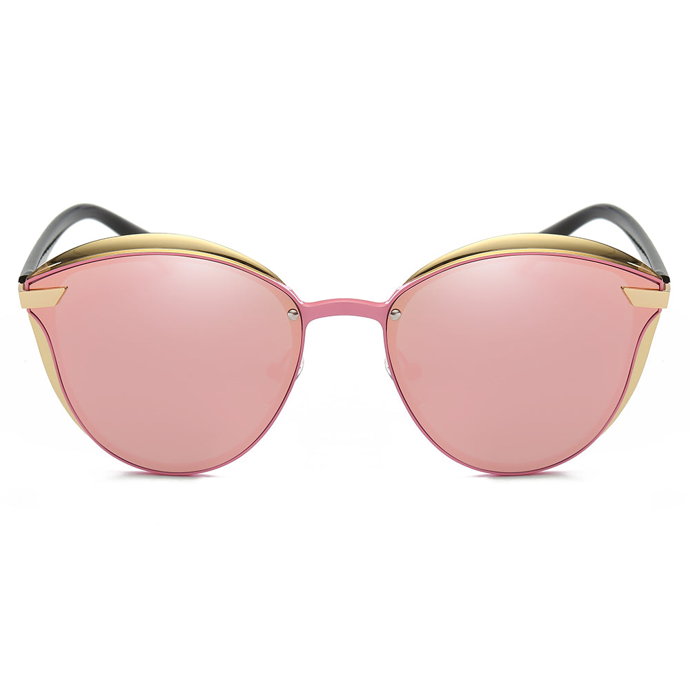phanto round sunglasses with pink lens and gold frames color