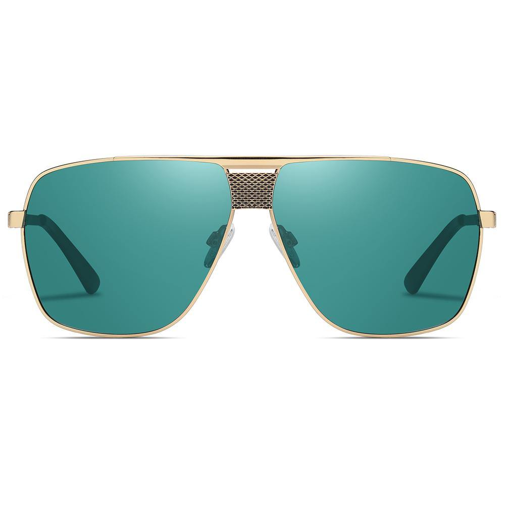 teal blue lens color with gold trimmed, flat top polarized sunglasses