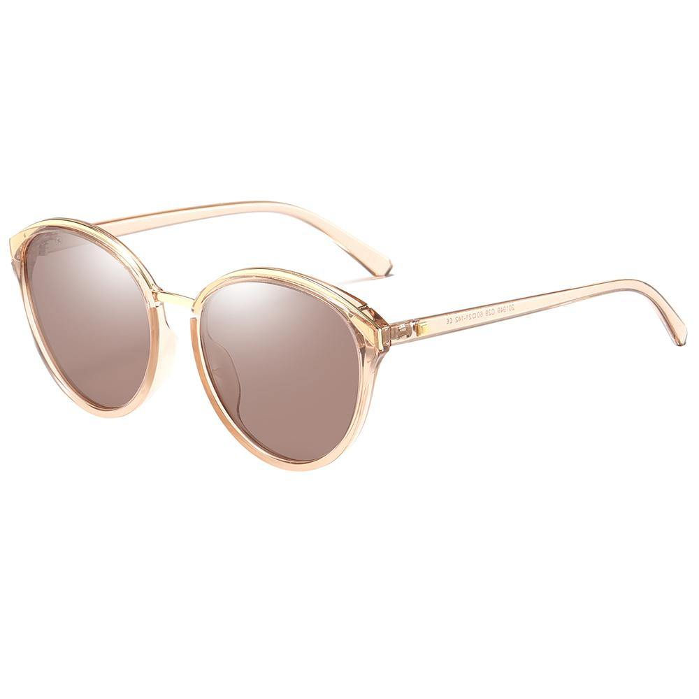 round sunglasses with angular edges, brown tinted lenses with top gold frames and bridges