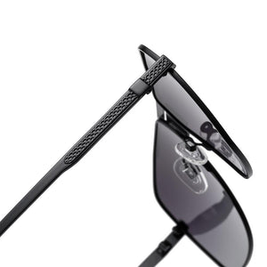 temple arms of prescription sunglasses in black frames