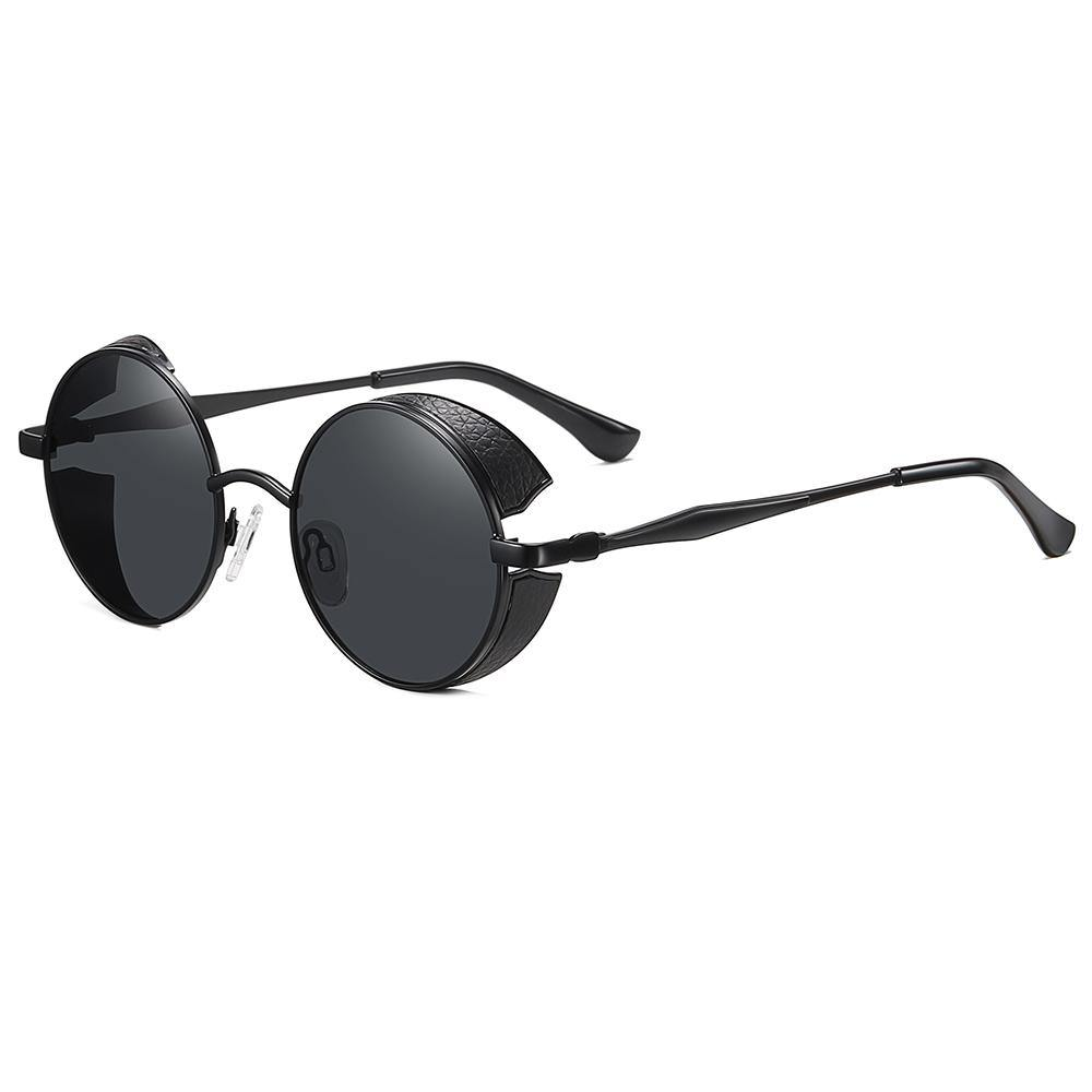 side view of small round sunglasses and black frames temple arms