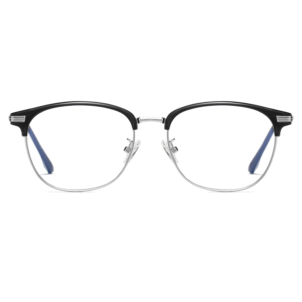 clubmaster, silver bottom frames color, black browline frames