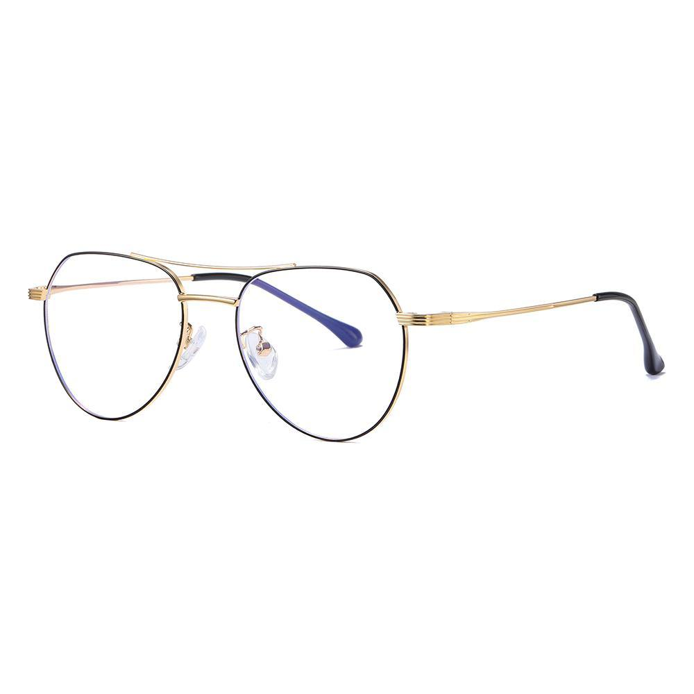 black gold aviator shaped frame, double bridge eyeglasses