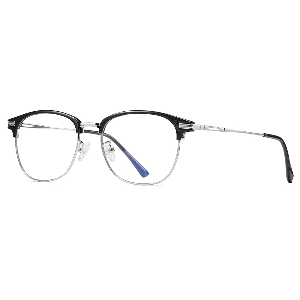 clubmaster prescription eyeglasses, silver temple arms and black tips