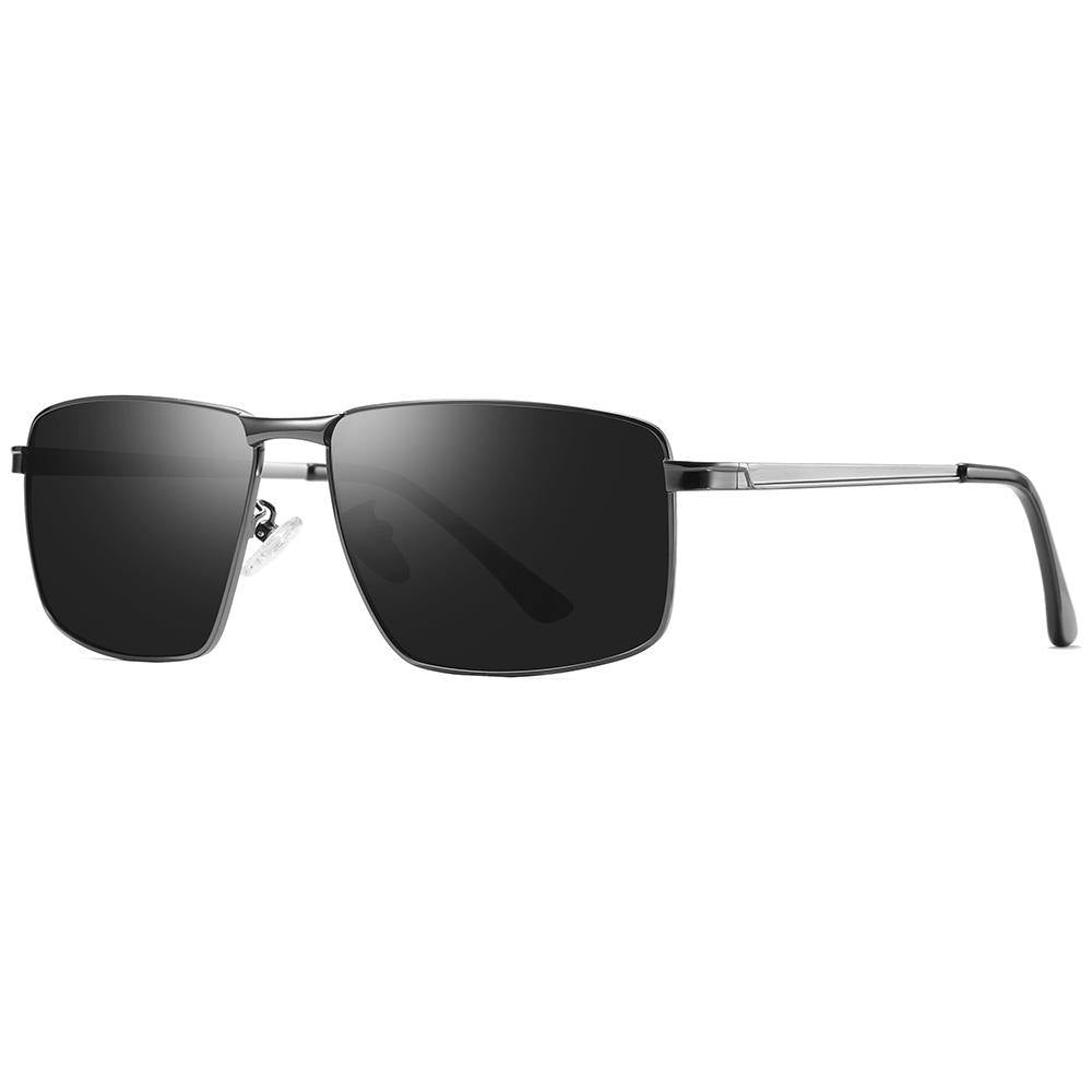 side view of sunnies with black tint lens in rectangle shape