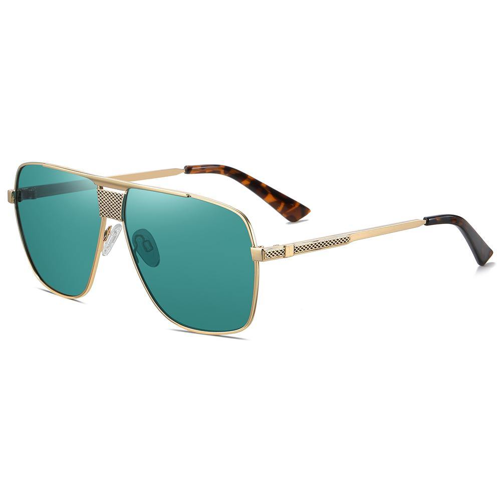 side view of square sunglasses with gold trimmed, temple arms with tortoise color ending tips