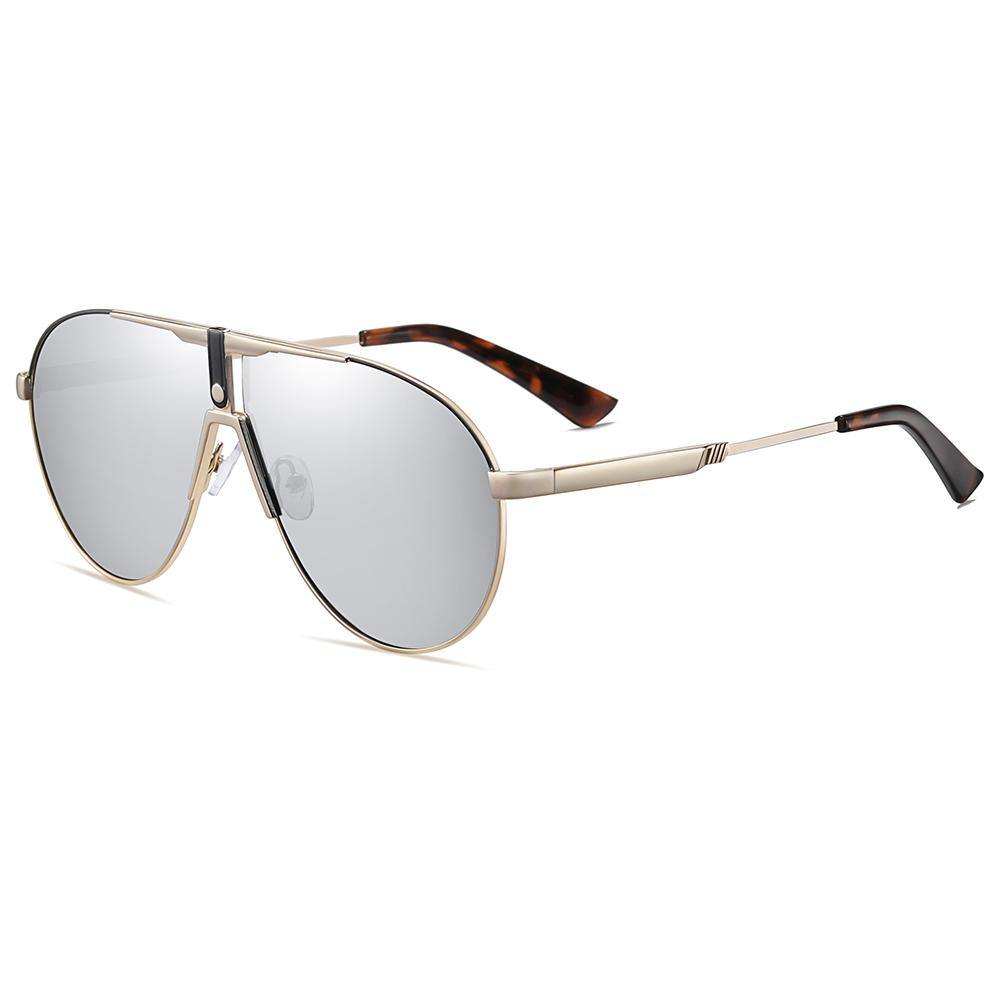side view of grey lens prescription sunshades, big aviator shape